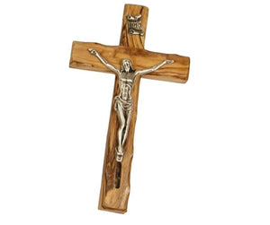 Olive wood crucifix to hanging on the wall with a metal statue of Jesus Messiah and SOIL from the Holy Land -  SEA OF GALILEE CHRISTIAN SHOP