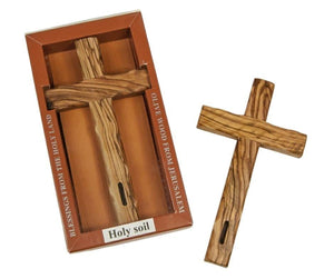 Olive wood crucifix to hanging on the wall with SOIL from the Holy Land -  SEA OF GALILEE CHRISTIAN SHOP