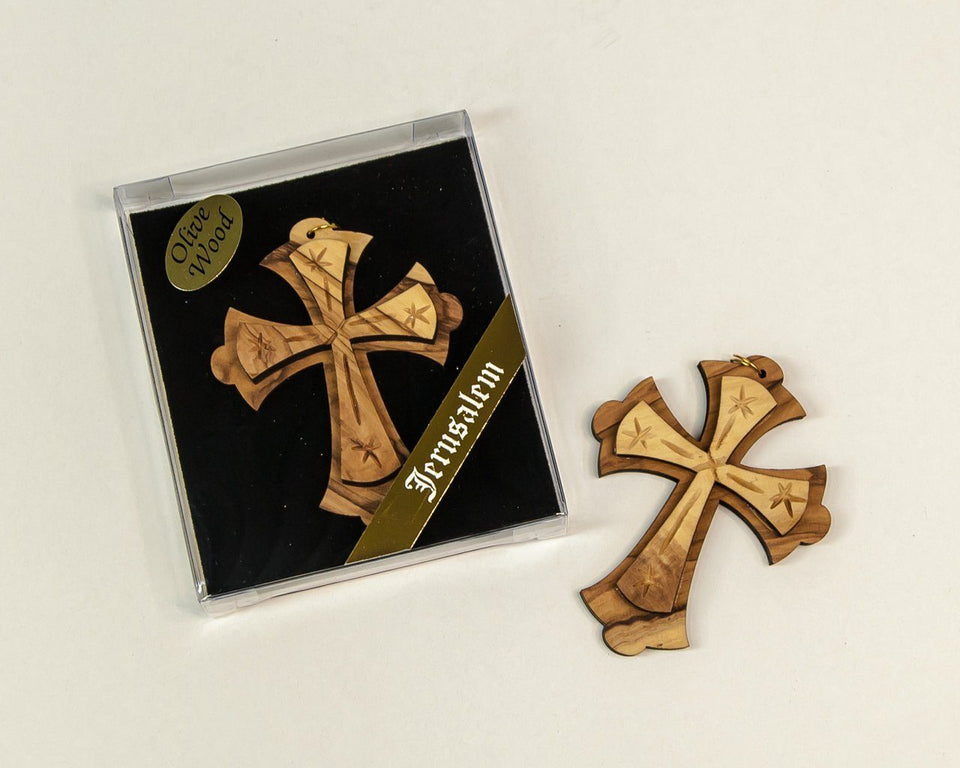 OLIVE WOOD  DUOBLE CROSS -  SEA OF GALILEE CHRISTIAN SHOP