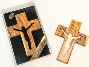 OLIVE WOOD ENGRAVED CROSS -1462L -  SEA OF GALILEE CHRISTIAN SHOP