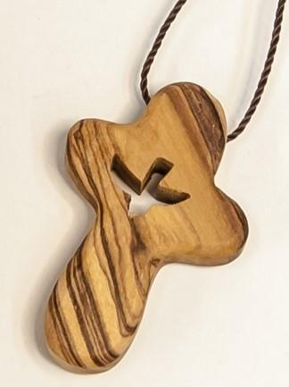 OLIVE WOOD HAND  CROSS - engraved -  SEA OF GALILEE CHRISTIAN SHOP