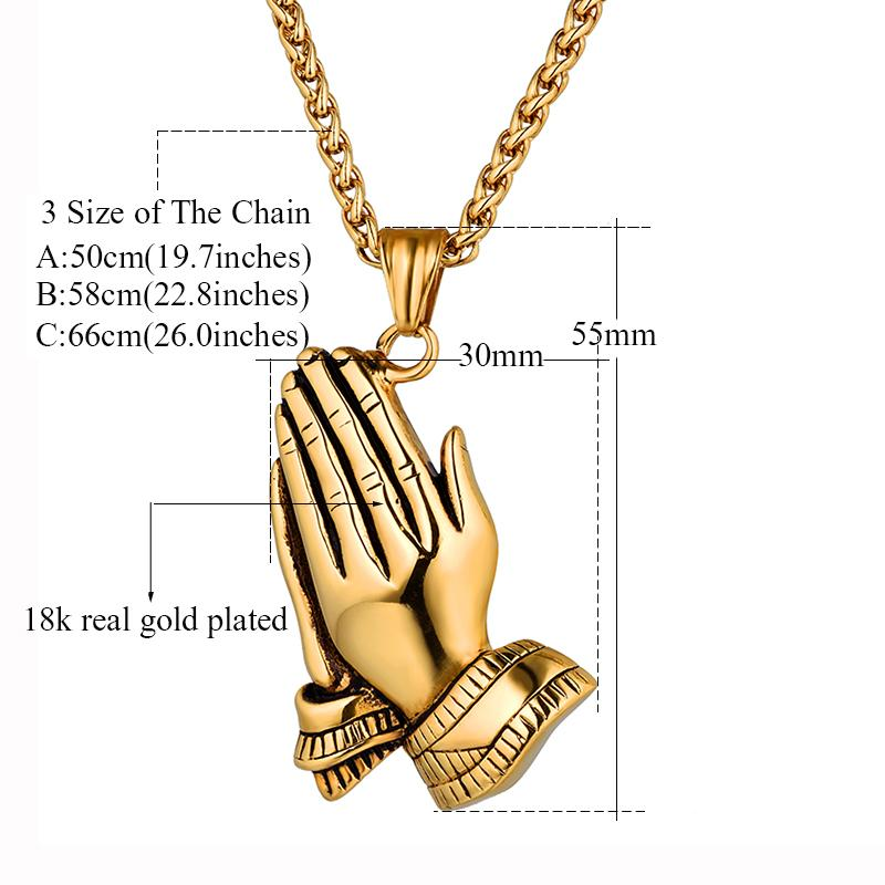 Praying Hands Pendant -Men's  Necklace -  SEA OF GALILEE CHRISTIAN SHOP