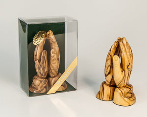 PRAYING  HANDS - S  made from olive wood -  SEA OF GALILEE CHRISTIAN SHOP
