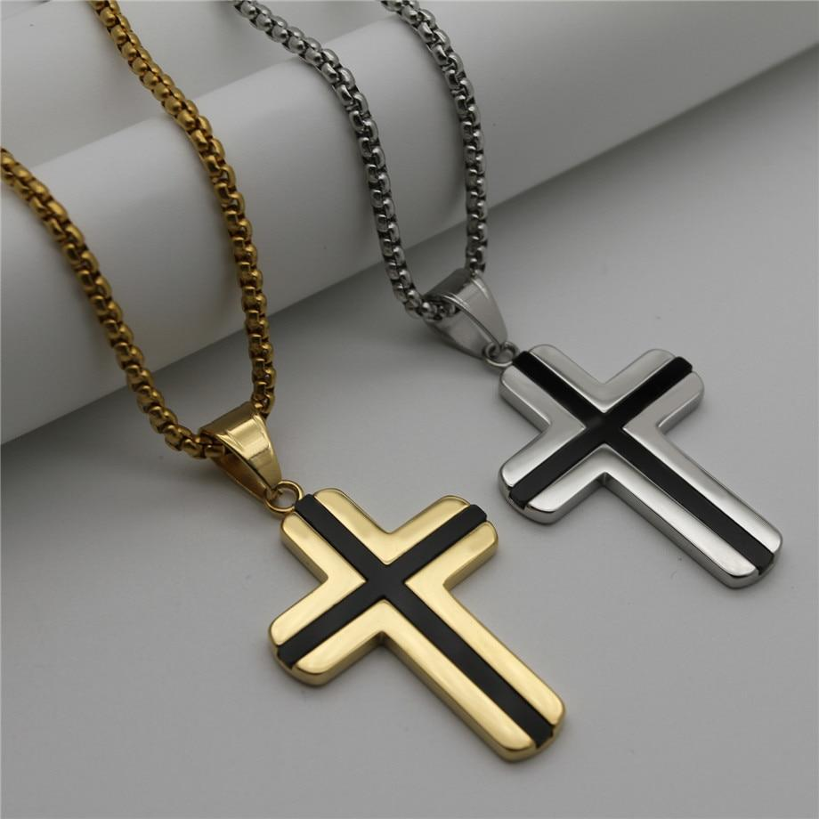 Simple Gold/Silver Color Stainless Steel Cross Pendants Necklaces With Long Chain for Women/Men Religious Jewelry colar collier -  SEA OF GALILEE CHRISTIAN SHOP