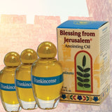 Three bottles of Anointing Oil  Based on Galilee Virgin Olive Oil, Perfumes with Frankincense -  SEA OF GALILEE CHRISTIAN SHOP