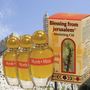 Three bottles of Myrrh- Anointing Oil -  SEA OF GALILEE CHRISTIAN SHOP