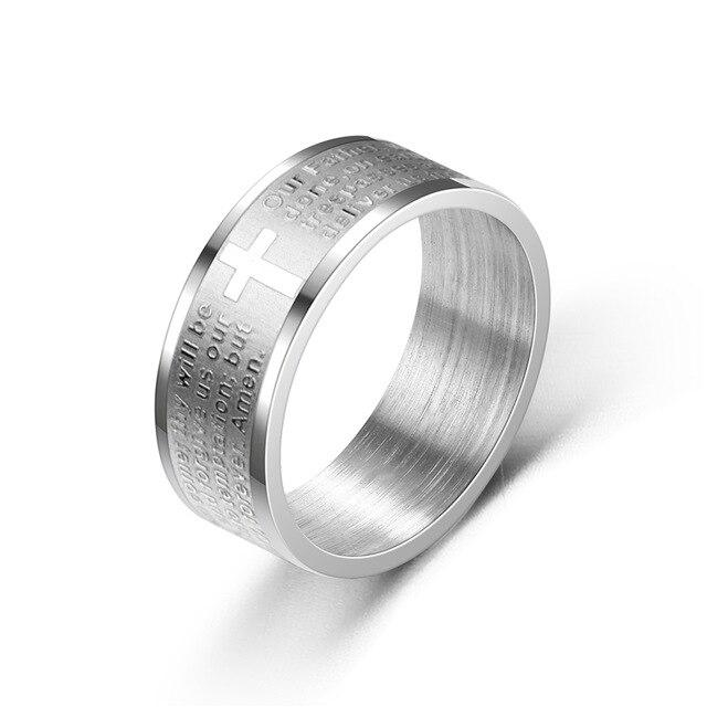 Titanium Stainless Steel Ring -Engraved -  SEA OF GALILEE CHRISTIAN SHOP