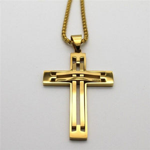 Women's Men's Jesus Piece Cross Necklaces Gold Color Stainless Steel Crucifix Pendant Necklace Catholic Religious Jewelry Gift -  SEA OF GALILEE CHRISTIAN SHOP