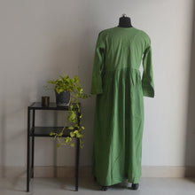 Load image into Gallery viewer, Leaf Green Chikankaari Maxi Dress