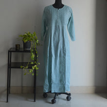 Load image into Gallery viewer, Teal Cotton Anarkali