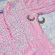Load image into Gallery viewer, Baby Pink Potli Buttoned Chikankaari Kurta