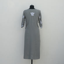 Load image into Gallery viewer, Grey Angrakha Straight Kurta