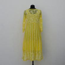 Load image into Gallery viewer, Bright Yellow Georgette Anarkali with Inner