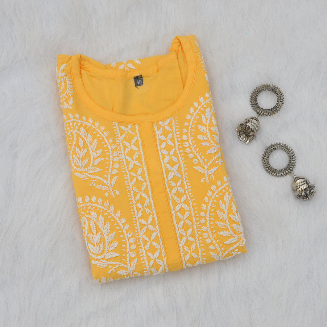 Yellow Rayon Straight Kurta