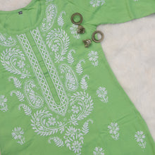 Load image into Gallery viewer, Mint Green Rayon Chikankaari Kurta