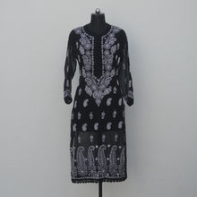 Load image into Gallery viewer, Black Georgette Crochet Buttoned Kurta