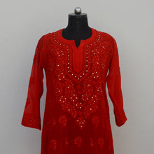 Load image into Gallery viewer, Red Viscose Georgette Kurta