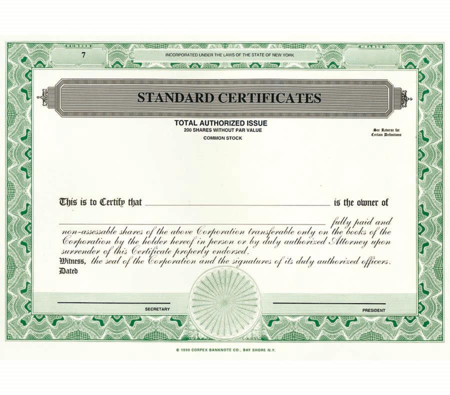 Custom Printed Corporate Certificates