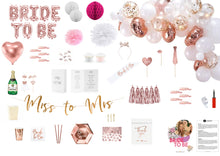 Lade das Bild in den Galerie-Viewer, Junggesellenabschied-Deko-set-rosegold-bride-to-be-partybox
