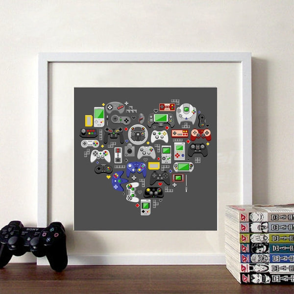 Retro Video Game Love Wall Art