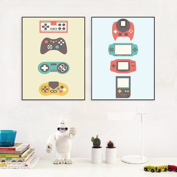 Vintage Game Consoles Poster