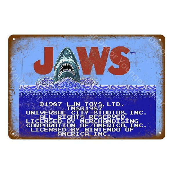 Jaws Retro Gaming Poster
