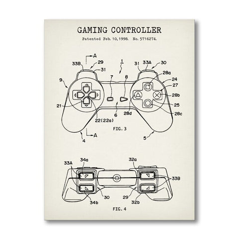 PlayStation Controller Blueprint Wall Art