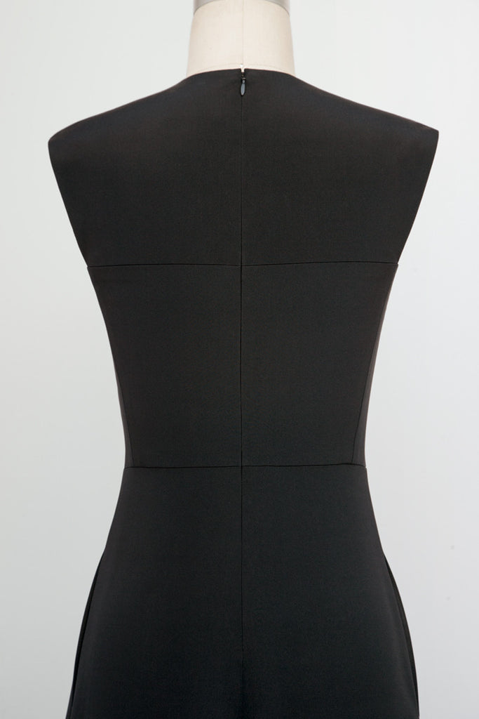 Sleeveless Square Neck Dress with Squared Armholes
