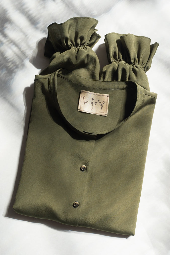 Silk Blouse 103_Khaki Green