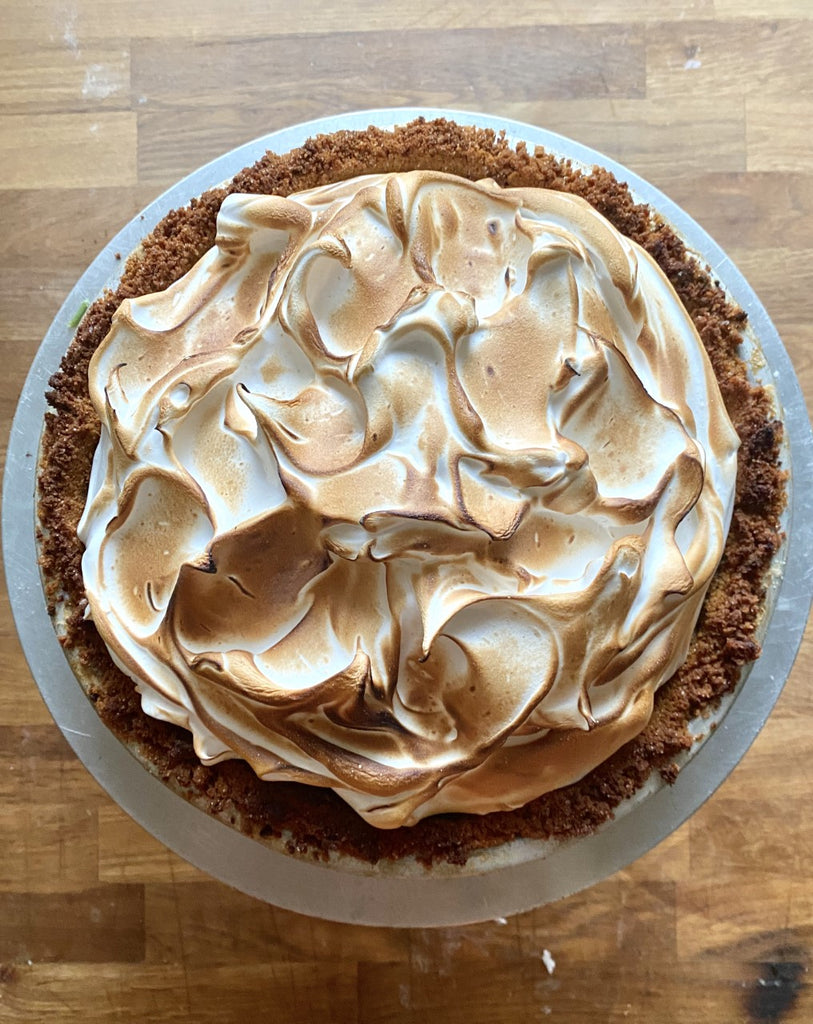Caramel pumpkin pie, topped with cinnamon meringue.