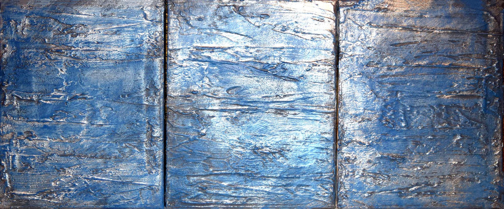 silver and blue abstract painting