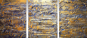 triptych wall art in gold silver modern art for sale