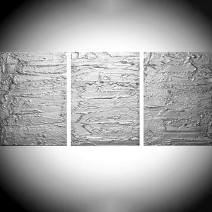 "3 panel wall art "" Solid Silver Triptych "" canvas original painting"