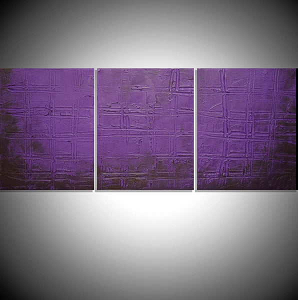 "3 panel wall contemporary art "" Purple Trance "" canvas original painting"