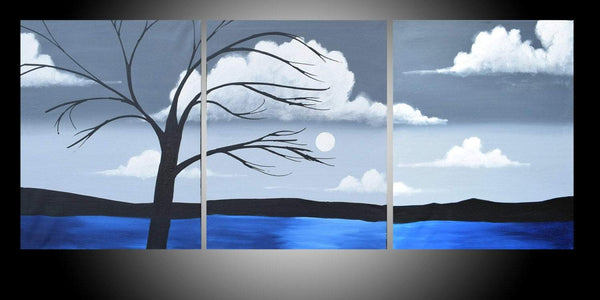 abstract canvas office art triptych large wall contemporary on canvas modern landscape oil landscape acrylic tree of life original 48 x 20""