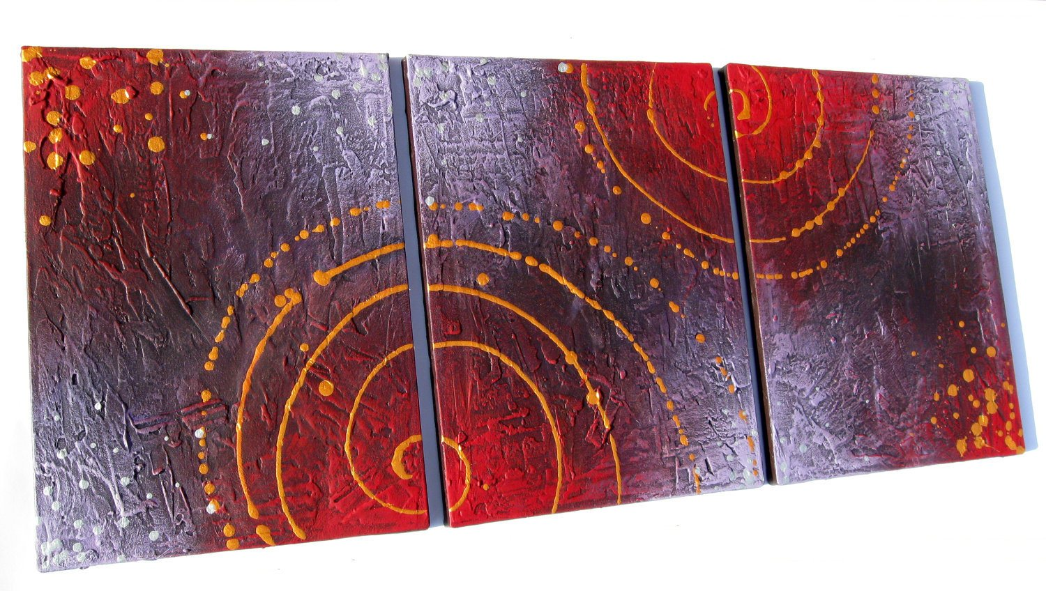 "abstract painting triptych large affordable wall art painting canvas sculpture office oil landscape acrylic ""cosmic symphony 2"" original"