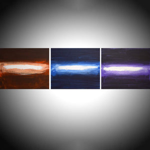 "abstract painting triptych large wall art contemporary "" Leave a Light On "" landscape original acrylic paintings on canvas  60 x 16"""