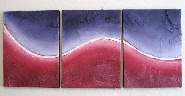 "affordable acrylic painting wall art purple violet triptych ""aurora borealis""  3 panel canvas  27 x 12"""