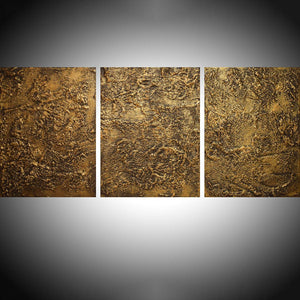 affordable ART triptych 3 panel wall modern gold metal home decor office interior on canvas original painting abstract 27 x 12""