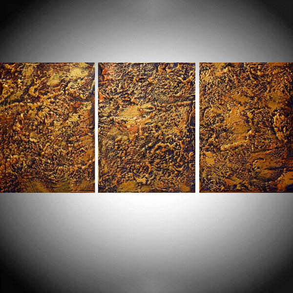 affordable ART triptych 3 panel wall modern orange metal gold home decor office interior on canvas original painting abstract 27 x 12""