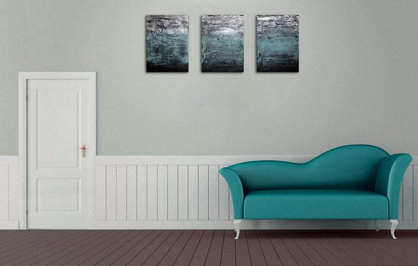 affordable wall art 3 panel wall contemporary Turquoise Triptych canvas original painting abstract canvas pop wall kunst 27 x 12""