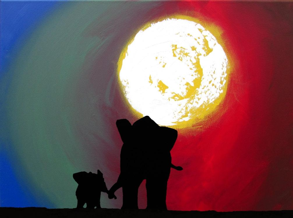 "african elephant art print "" Towards a better day"" beautiful colours"