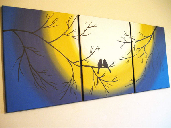 "bird wall art canvas "" Love Birds """