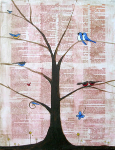 bird wall art canvas painting tree of life hanging hand made artwork from england original decal 18 x 24