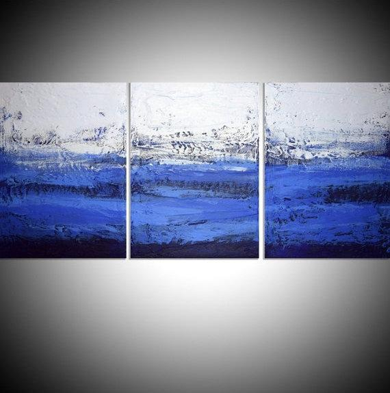 "blue painting blue wall art triptych 3 panel wall contemporary art ""Ultramarine Triptych"" canvas original abstract canvas kunst 27 x 12"""