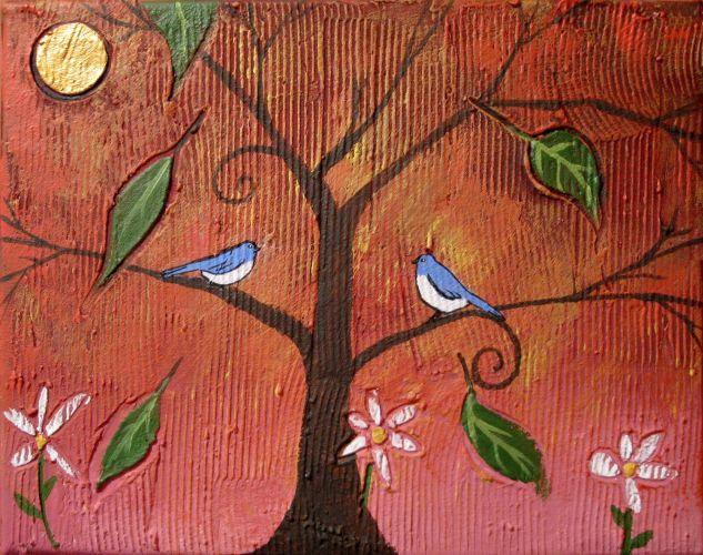 bluebird bird print illustration Original print Collectibles Giclee wall abstract nursery tree of life dorm decor office decal a3 a4