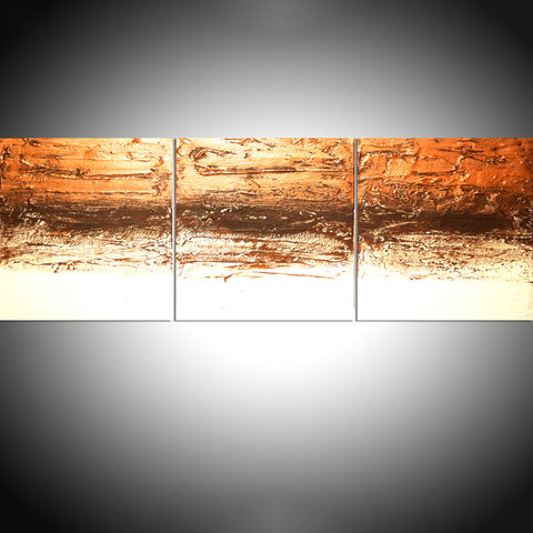 copper triptych 3 piece abstract