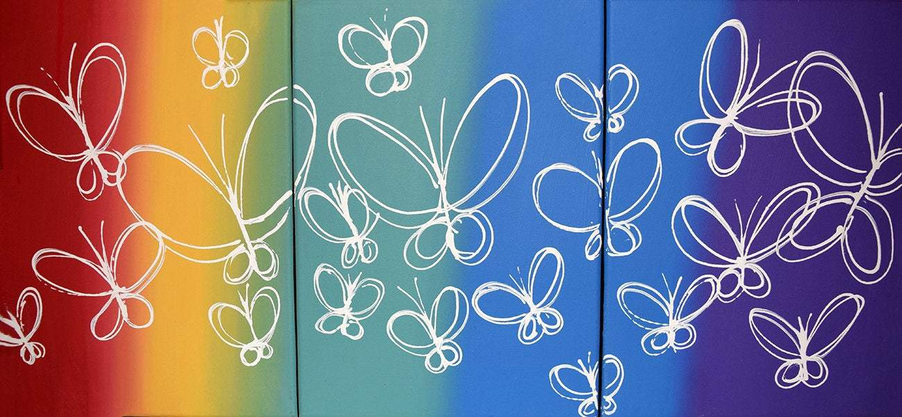 butterfly delight 3 piece wall art abstract