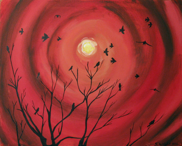 "canvas art Landscape original contemporary painting abstract love birds ""Sunset Birds"" tree of life paintings on wall hanging office"
