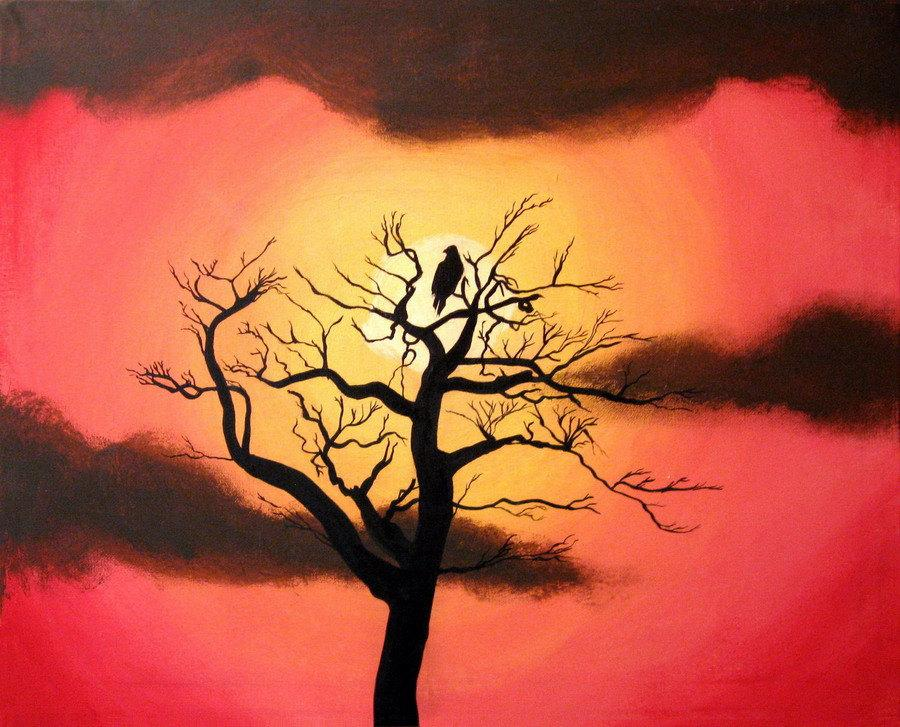 "canvas art silhouette art sunset ""resting place"" canvas wall art bird tree of life Original Painting 16 x 20 """
